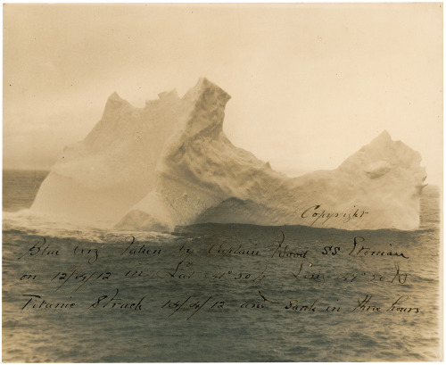 photojojo:  This is a photo of the iceberg that sunk the Titanic. It was shot by the captain of a steamer ship two days before the Titanic came by the same spot. It's going up for auction and will most likely sell for between $8K and $10K! Photo of the Iceberg That Sunk the Titanic to Go for $10k via Reddit
