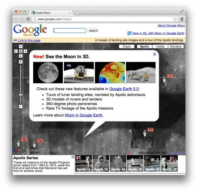 Google Goes to the Moon Google and the NASA Ames Research Center have joined together to produce a collection of lunar maps and charts as a way to explore the Apollo missions. Things to see: Visible - A mosaic of images taken by the Clementinemission. This is a black-and-white version of what you would seeif you were in orbit around the moon. This composite imagery was prepared by the USGS. Elevation - A lunar terrain map generated by the USGSin conjunction with the The Unified Lunar Control Network 2005, and shaded using an airbrushed shaded relief map. This map is color-coded by altitude, so you can use the color key at the lower left to estimate elevations. Apollo - A collection of placemarks that tell the story of the Apollo missions that landed on the moon. This includes stories, quotes,images, panoramas, audio clips, and links to videos of the astronauts' adventures on the lunar surface. Charts - A collection of geological and topographic charts of various regions of the moon. Image: Screenshot, Google Moon.