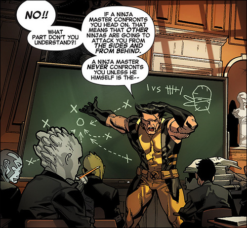 nikofag:  hannahwise:  Wolverine teaches.  after 5 minutes he starts flipping tables