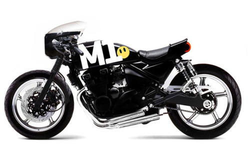 This Custom Kawasaki Zephyr 750 is, a morph, it only exists as a design product, i.e. it's  not real. You can thank Joao Alves of somosEstudio. It's powered by a 750′s air-cooled, 4-cylinder engine with dual-overhead cams. Looks like the frame has been rotated forward slightly and the rear sub frame removed.  Add ons include adjustable rear shock absorbers, clip-on handlebars, a headlight cowling, and a custom seat. Cool paint job too.