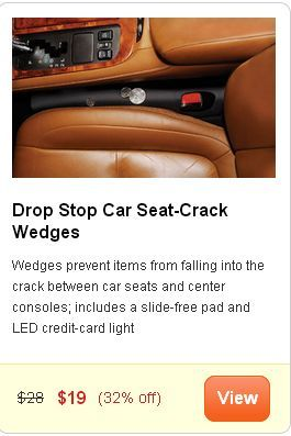 "The ""Drop Stop Car Seat-Crack Wedges."" Presented without comment."