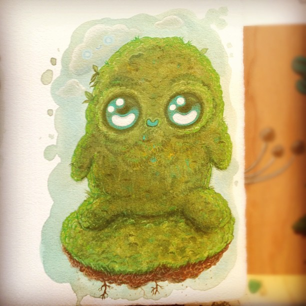working on… #Mossy #mumbot #moss #cloudypuffs #cloud #cute #art #kawaii #nature #spirit