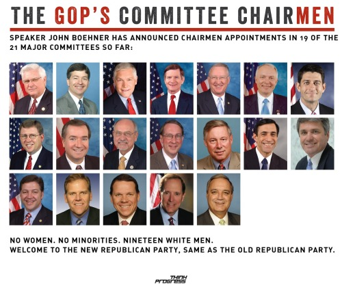 dreadfulpenny:  themattsmith:  think-progress:  Republicans' Committee Chair(MEN). Another thing that's awful —> What radical positions these men have taken.  I don't know what the problem is.  This is representative democracy in action. These men are a pretty accurate representation of the people that voted for them- white men and subservient white women.  I'm neither subservient, nor a man and I voted Republican. Why? Because Republicans actually know what they're doing the majority of the time compared to Obama and his ilk. By the way, using race as some identifier just makes you racist. Bottom line.  You're right, that was maybe over the line.  I'm sure there are all kinds of great reasons for a woman to vote Republican. But, as I've maintained, you can't vote for the GOP because of the economy and pretend the hate, the fear, and the ignorance inherent in today's GOP doesn't exist.  You may very well believe that gays shouldn't marry, women shouldn't have the right to choose, AND that our children's education and the rights of workers should take a back seat to that cardinal sin of raising taxes.  I think you're wrong (and kind of a bad person) if you do, but that doesn't matter, it's your right to think that way.  Those men up there believe the same thing.  Representative government.