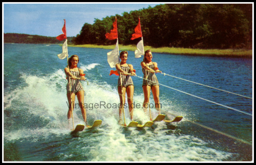 Vintage postcard from a long-gone Lake of the Ozarks water ski show. Circa. 1960's.