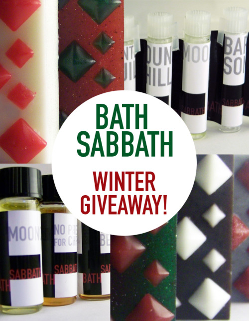 bathsabbath:  I promised a Holiday Gifting so here it is! *YOU WILL RECEIVE (over $40 value)* -3 Full size Winter soaps in the scents of your choosing. -5 sample vials of Perfume oil in the scents of your choosing. -1 Dram of Perfume oil in the scent of your choosing. -Assorted sticker art/stuff. *RULES* -You must be following me! -A like to the Facebook page, and Etsy shop would be appreciated, but not required! - Only one reblog and one like will be counted! -It ends on December 10th! -Winner will be chosen via random generator and alerted via ask, if no response within 72 hours, a new winner will be chosen. -Will ship anywhere! Thanks guys! And double your chances by liking the Bath Sabbath Facebook page, 90 more likes and I'll do one there!