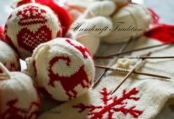 Handcrafted tradition…transferring vintage Nordic sweater designs into wool ornaments for my greenhouse tree.