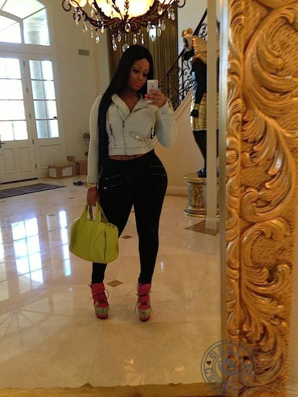 InTheLoop News: Blac Chyna Shows Off Her New Mansion. Tyga's girlfriend and child's mother Blac Chyna has definitely come up since the days of twerking at Miami's King of Diamonds.  Yesterday, she posted up a photo of herself from the foyer of the $6.5 million dollar Calabasas mansio