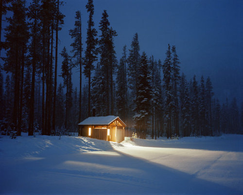Kevin Cooley's A Cabin Near The Santiam River In Washington (via 7 | Frigid Long-Exposure Photography, Lit By The Ubiquitous Emergency Flare | Co.Design: business innovation design)