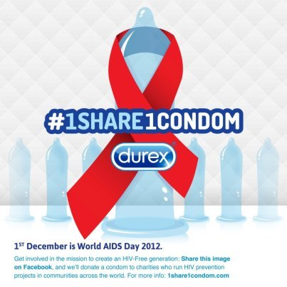 Durex Sets Goal of Donating 2.5M Condoms by World AIDS Day Condom manufacturer Durex will donate one condom for every consumer who uses Twitter or Facebook to share an HIV awareness message from November 26 to December 1. Read more: http://www.poz.com/articles/durex_condom_donation_1_23201.shtml