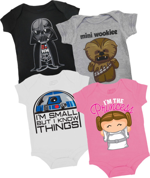 welovefineshirts:  WE LOVE FINE WEDNESDAY IS BACK!  And we love geek parents who love their younglings enough to start them off right! Reblog this post and you are entered to WIN one of our best-selling Star Wars infant onesies! Several designs and sizes to choose from - good luck! Reblog and WIN!