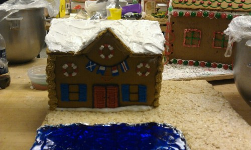 I built my gingerbread house today! Tomorrow I just need to finish my landscape and lighthouse and I'll be all done.