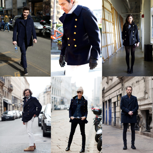 For the winter season, my go to outerwear are pea-coats. I understand the appeal of a leather jacket but do those seriously keep you warm?? Warmth > Sexy any day especially when I lived in colder climates like London but for Los Angeles, you can get away with leather during the winter season. Back to pea-coats tho, I find them absolutely sexy on most men and its a classic staple that will last you many winters to come :) Pictures from thesartorialist.com