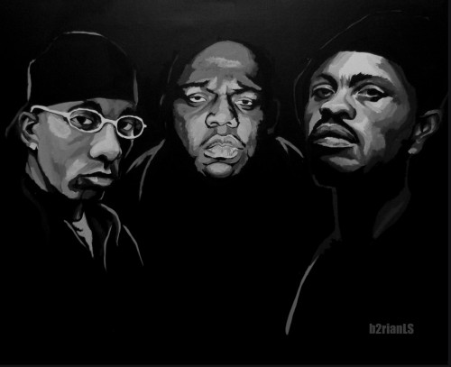 Legends: Big L - Biggie - Guru acrylic on canvas
