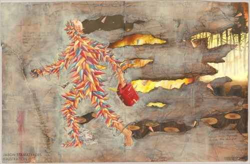 "The Impossible Task Of Sustainable Humanityby Jason Stamatyades Water colour, acrylic paint, ink, thread, paper, and glue on paper.  11 x 17"".  2012."