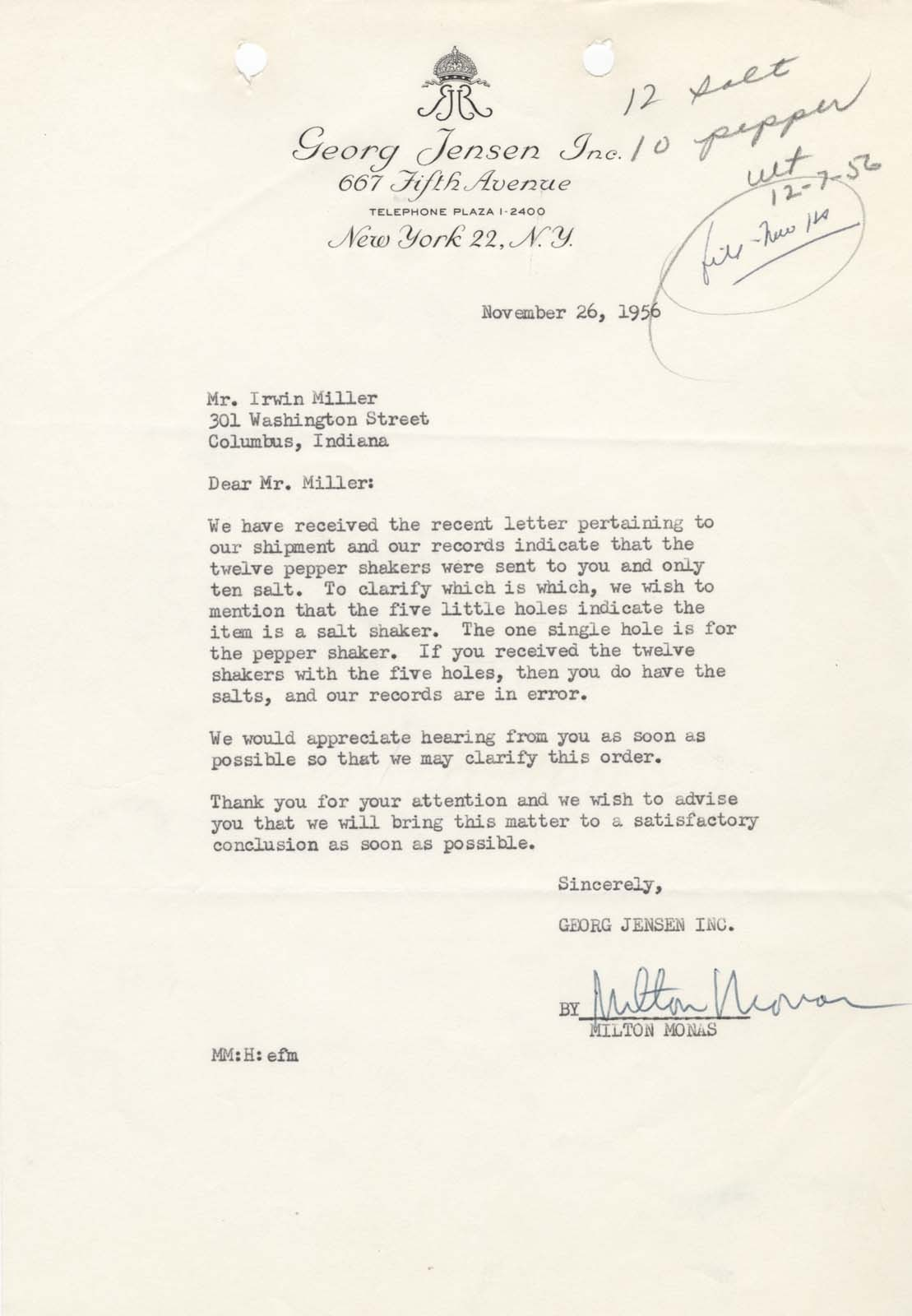 Georg Jensen's Milton Monas wrote to Mr. Miller about the missing salt shakers from a shipment of what was supposed to be 24 salt and pepper shakers.  Milton Monas to J. Irwin Miller, 26 November 1956, 1/4, Miller House and Garden Collection, IMA Archives, Indianapolis Museum of Art, Indianapolis, Indiana. (MHG_Ia_B001_f004_018)