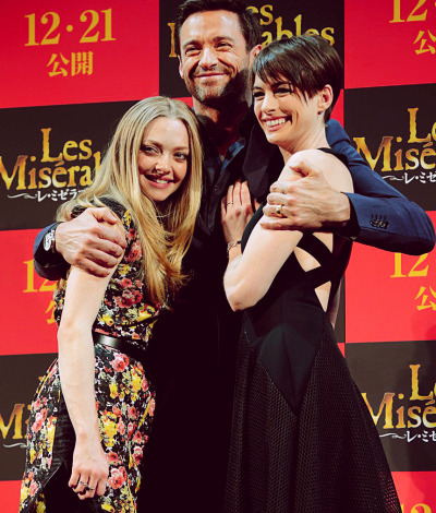 Amanda Seyfried, Hugh Jackman + Anne Hathaway at a photocall in Tokyo for their upcoming film Les Miserables...