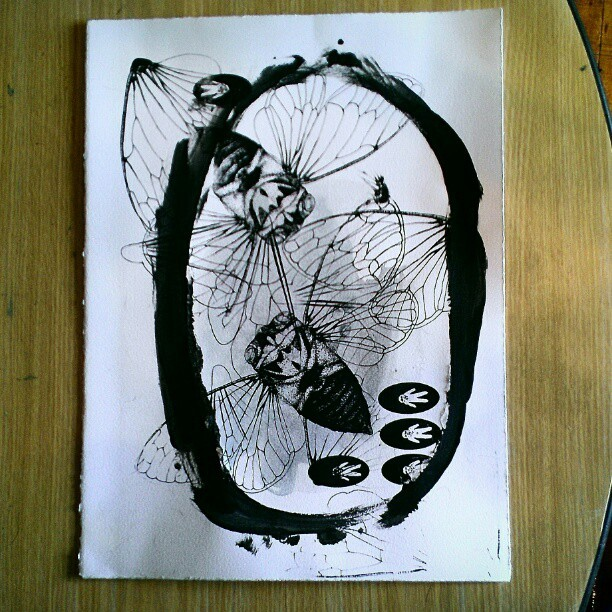 camillataylor:  #Screenprint test sheet. #printmaking #cicada (at Aqua World Swim Club)