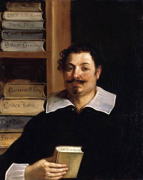 vcrfl:  Guercino: Portrait of Francesco Righetti (1626–28)  It is quite interesting to look at the different style of storing, and labeling, books at the time. The books are bound in vellum, lying flat, top edge facing the viewer, and here the title is inscribed.  There are local differences too: In Germany, books were typically bound in pigskin with wooden boards, and they were stored upright, but with the backstrip to the wall and the title inscribed on the fore-edge.