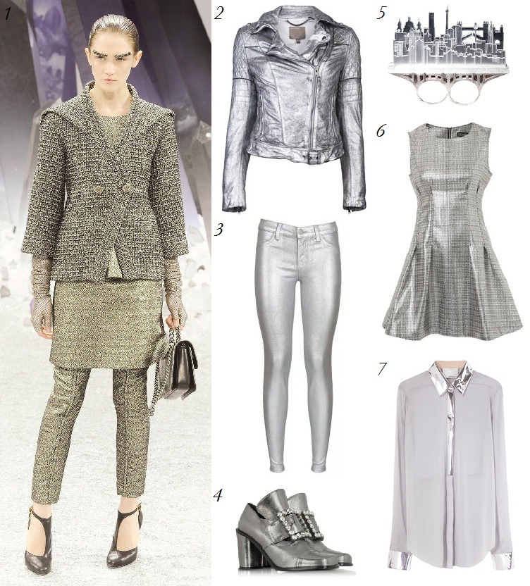 "Trend Watch: Sleek Silver Shimmering golds and bronzes have been a huge trend this fall, but as temperatures dip below freezing and winter starts to set in, we find ourselves craving a cooler metal. Silver has become the ""it"" metal of the season, seen in the form of accessories at Derek Lam, shoes at Yves Saint Laurent, and all over at Chanel and Roberto Cavalli. Combine silver with white at your next holiday party for a look that is festive and winter-y, but not cliche, or wear with burgundy to brighten an otherwise dark ensemble.  1. Chanel 2. MuuBaa 3. J Brand 4. Marc Jacobs 5. Christina Elle 6. Topshop 7. 3.1 Phillip Lim"