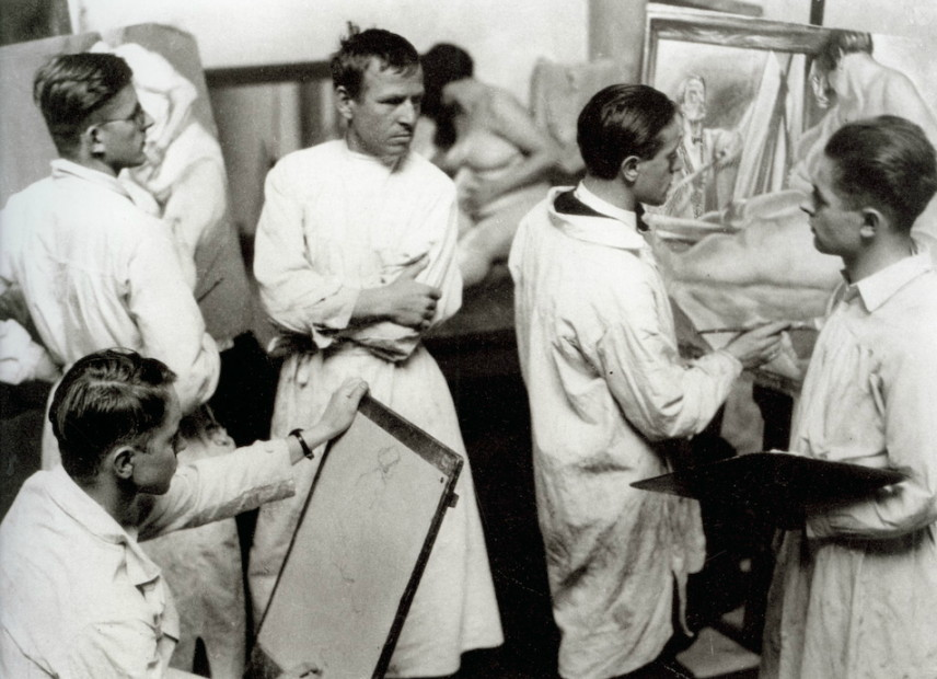 Otto Dix with his painting class at the Dresden Academy.  Photo by Hugo Erfurth