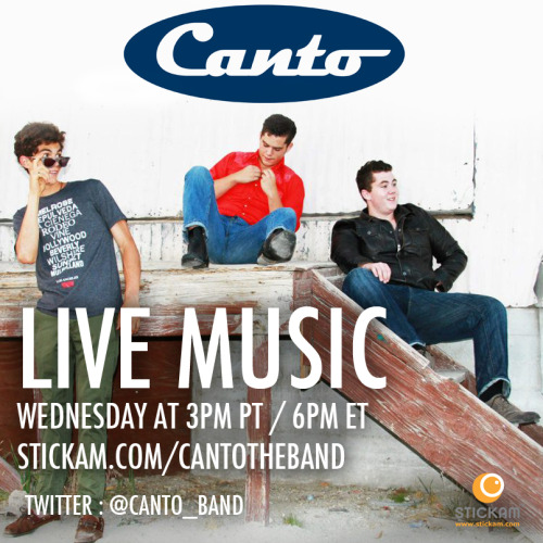 "Canto LIVE Band Chat  Join Canto, a unique sounding band of brothers, for a LIVE chat with band members Seamus Blackwell (Vocals, Guitar), Aidan Blackwell (Bass) and David Blackwell (Drums) starting at 3PM PT / 6PM ET!  Also catch their debut album ""HA HA HA"" off of iTunes!"