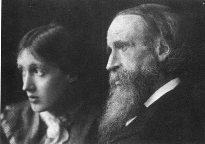 "Virginia Woolf, left, and Leslie Stephen, right. ""Every evening we spent an hour and a half in the drawing-room, and, as far back as I can remember, he found some way of amusing us himself … many of the great English poems now seem to me inseparable from my father; I hear in them not only his voice, but in some sort his teaching and belief."" - Virginia Woolf on her father, Leslie Stephen, a writer, editor, and mountaineer in his right."