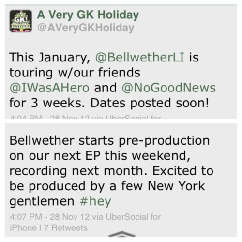 bellwetherband:  A few announcements. Get to talking.