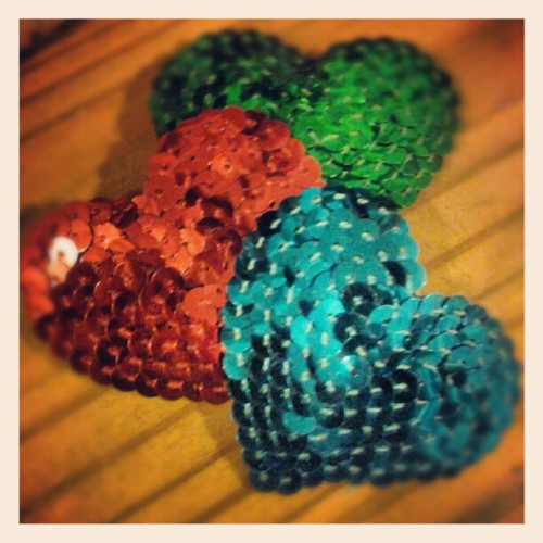 "New Harlow In Chains, hand-sewn sequin heart hair clips for the holidays. Available in red, green & turquoise blue. These measure approx. 2.5"" across.  #harlowinchains #hair #heart #holiday #barrette #accessories #ooak #oneofakind #glam #swag"