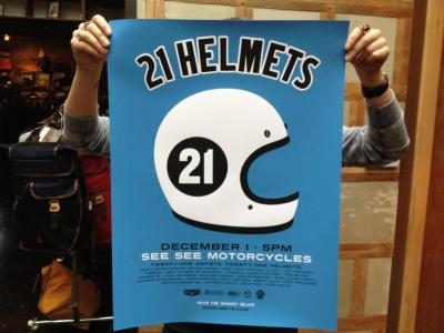 Don't miss the 21 helmets show this Saturday (December 1, 5p) at See See Coffee & Motorcycles in Portland! You can see some of the helmets from last year on display at the One Motorcycle show 2012 in my blog post »