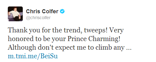 Thank you for the trend, tweeps! Very honored to be your Prince Charming! Although don't expect me to climb any towers or touch your feet. :)