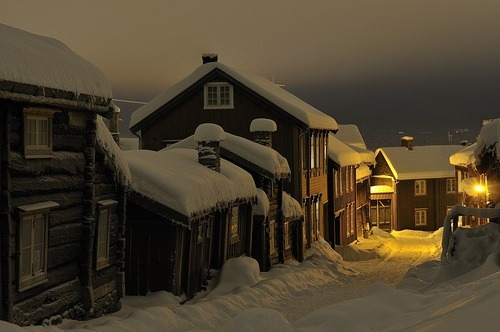 Winter's Night, Roros, Norway photo via petya