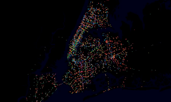 What if every bus, train and ferry in NYC were turned into a pretty light and seen from space. The latest transit data visualization making the rounds after being featured on Mashableshows 24 hours in NYC transit as colored dots zipping around a darkened map. These space-eye views of cities-in-motion always get touted as mesmerizing, or stunning, or just plain cool. This is no different. But we have other favorites. (Full story)