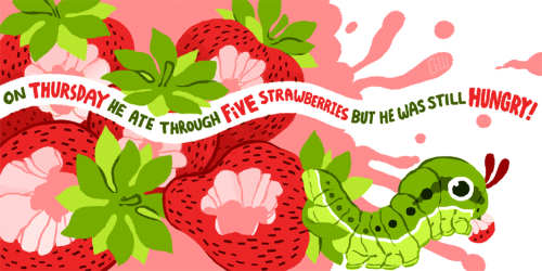 goldcuccoart:  children's book assignment pt1 I'm doing the very hungry caterpillar but changing it up just a bittt. In the original story it's four strawberries but I accidentally drew five and didn't realize until I was almost done so it's five now :> Yes yes, I was clearly inspired by caterpie, but also this real life caterpillar. The prongs on their faces are actually glands that emit foul odors. They're not just for caterpie~