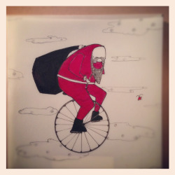 Limited Edition Xmas Card; Santa and the Penny Farthing