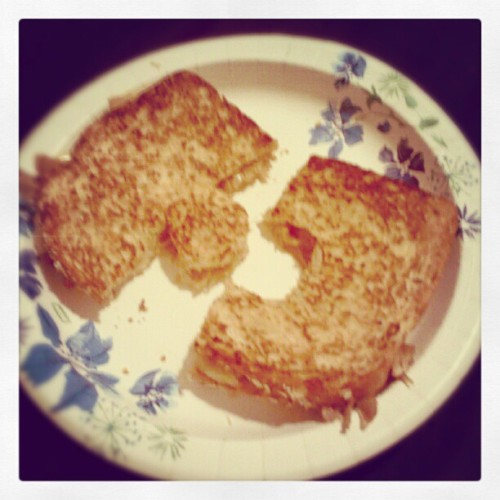 Puzzle piece grilled cheese with fried turkey, made with my love. Happiness is… (at Gray, ME)