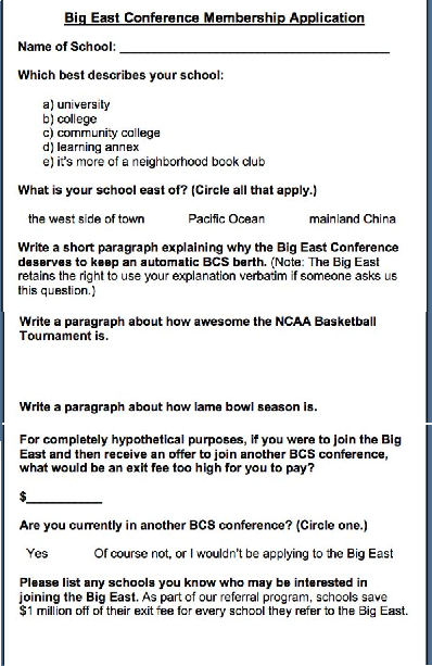 Big East Conference Membership Application