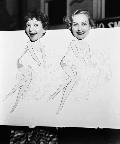 50dollars4thepowderroom:  Claudette Colbert and Carole Lombard having fun. c. 1930s