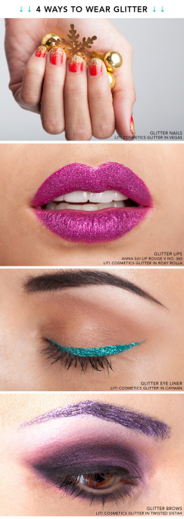 Check out these 4 ways to wear glitter. Click here for tips on achieving these glittery looks!