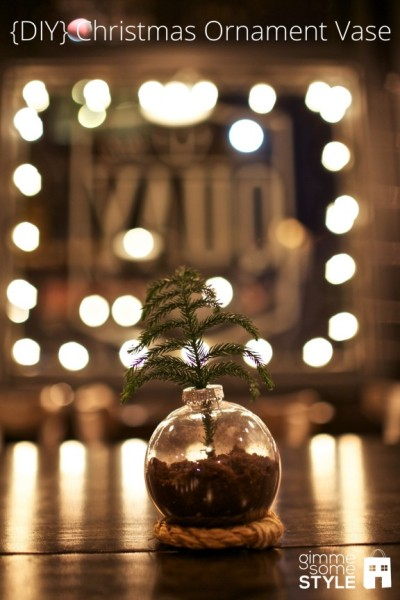 diychristmascrafts:  DIY Ornament Vase Tutorial from Gimme Some Style here. I like the idea of this. Maybe a bunch laid out as a part of a centerpiece. *They're plastic ornaments so they're really cheap.