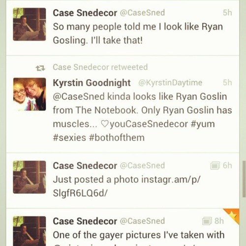 He retweeted me and made a tweet directed towards my tweet! @casesned #ahh #hesgonnarememberme #secondretweetfromhim #case #snedecor #cutedrummer