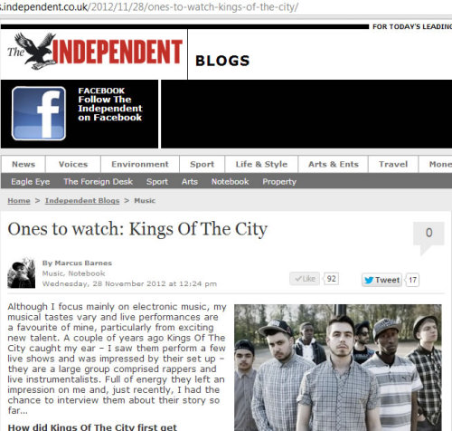 Interview we did with Marcus Barnes for The Independent. http://blogs.independent.co.uk/2012/11/28/ones-to-watch-kings-of-the-city/