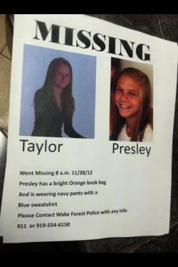 sunny-hallelujah:  Please reblog this!Two girls from my school went missing today. I know it's a long shot posting this on Tumblr with followers from all around the world, but we need to get the word out. Please help find these two girls. I don't know them well, but I need them to come home safe. We need to find them.  http://cigarill0s.tumblr.com/ Please help bring this girl home Taylor & Presely please go home Tumblr please work your magic