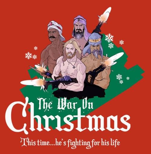 "When I hear people talk about the so called ""War On Christmas"" I always think about Aryan Jesus and the three wise men with automatic weapons shooting things up as if they're in some Stallone or Norris action film. Well, this year the war on Christmas is over because Jesus is fighting back! Prints available on ETSYShirts available on REDBUBBLE"