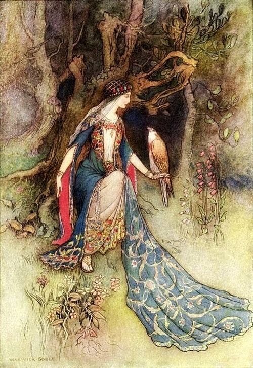 "artoficeandfire:  lauracricket:  ""The Princess & The Falcon"" by Warwick Goble"