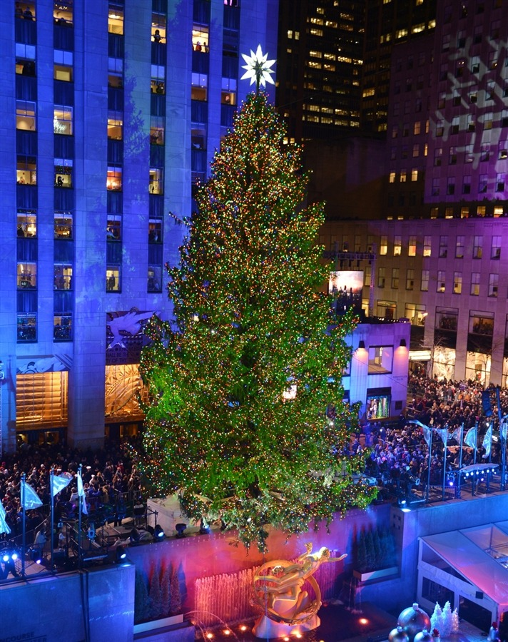The 80th Rockefeller Center Christmas tree, which survived Hurricane Sandy, was just lit.