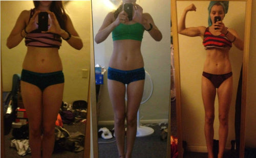 its-about-progress:  hoorayforbutts:  okay so this is my latest progress photo that i added left: july 2012 middle: august 2012 right: november 2012 it's been tough, but LOOK AT ME GOOOOO!  Amazing! Great progress :)