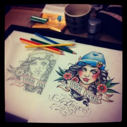Jean Le Roux- late night coloring with the help of coffee and smokes. @cesarmesquita got me to use some pencils. Im buying muself a coloring book for christmas. (at black garden tattoo london)