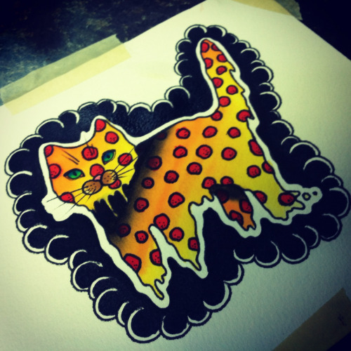 Pizza cat. Wanna tattoo this! Watercolor