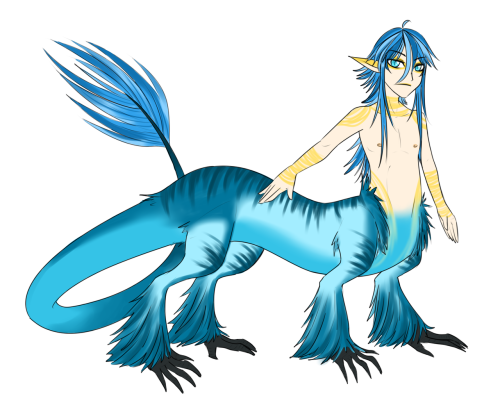 A character for one of Jacks contests. Hes a Dragon-taur thing. I really hope Jack likes the yellow with the blue, I was kinda iffy about using it but I like it. I didnt think I would get this done today lol