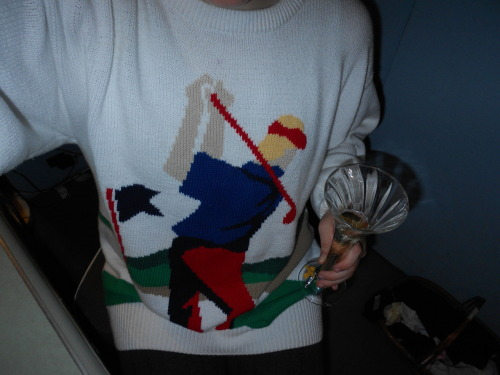 My Grandpa Leo's sweater and a glass of J Vinyard and Wineries' J Cuvee 20.